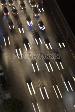 high angle view of traffic moving