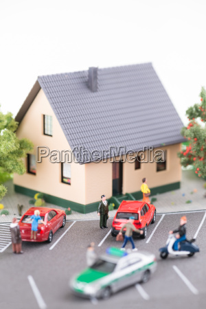busy street with miniature people patrol