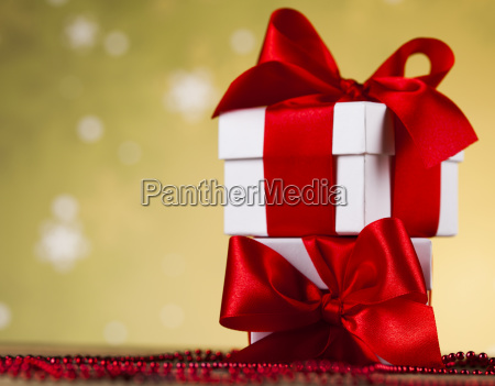 beautiful, gift, box, with, red, ribbon - 25313676