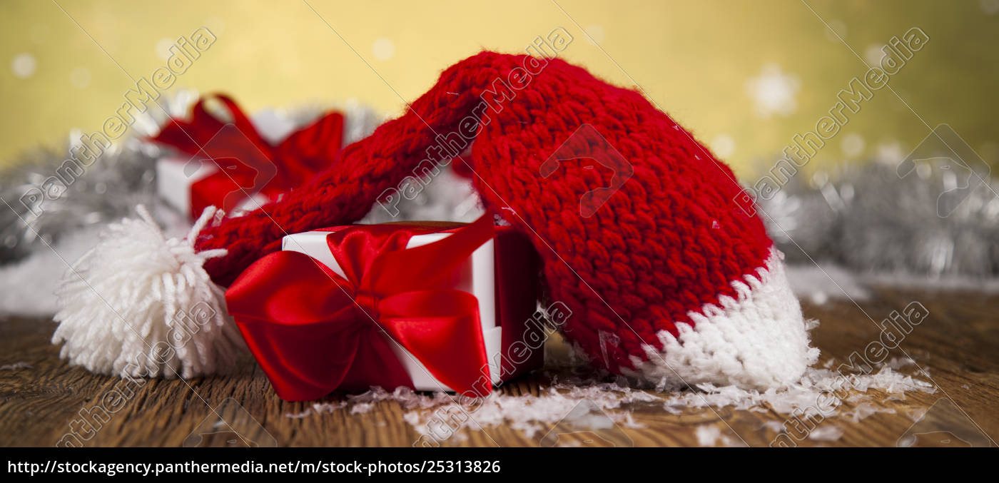 red, santa, hat, , holiday, christmas, background - 25313826