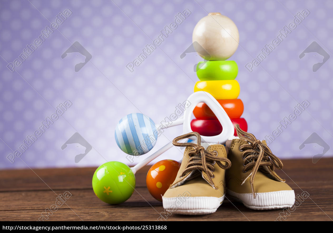 stuffed, baby, toys, on, wooden, background - 25313868