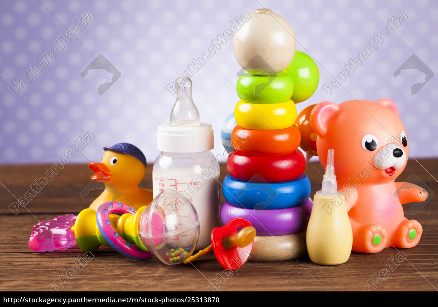 stuffed, baby, toys, on, wooden, background - 25313870