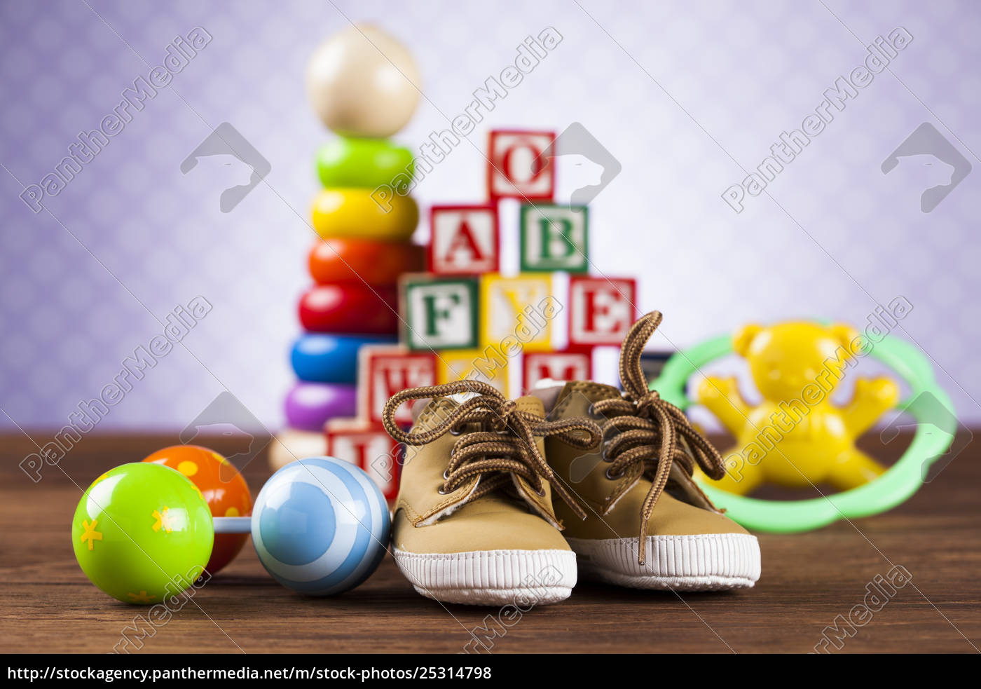 stuffed, baby, toys, on, wooden, background - 25314798