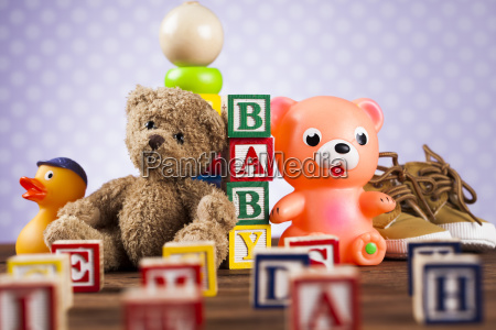 stuffed, baby, toys, on, wooden, background - 25314968