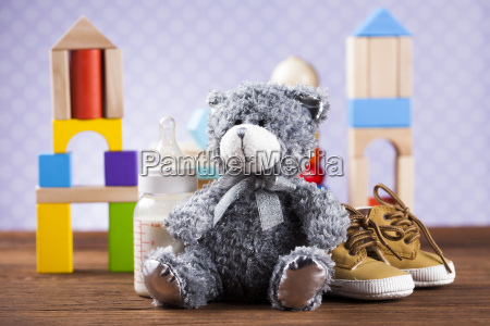 teddy, bear, on, on, wooden, background - 25314980