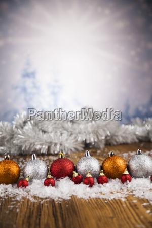 christmas, balls, on, shiny, background - 25315012