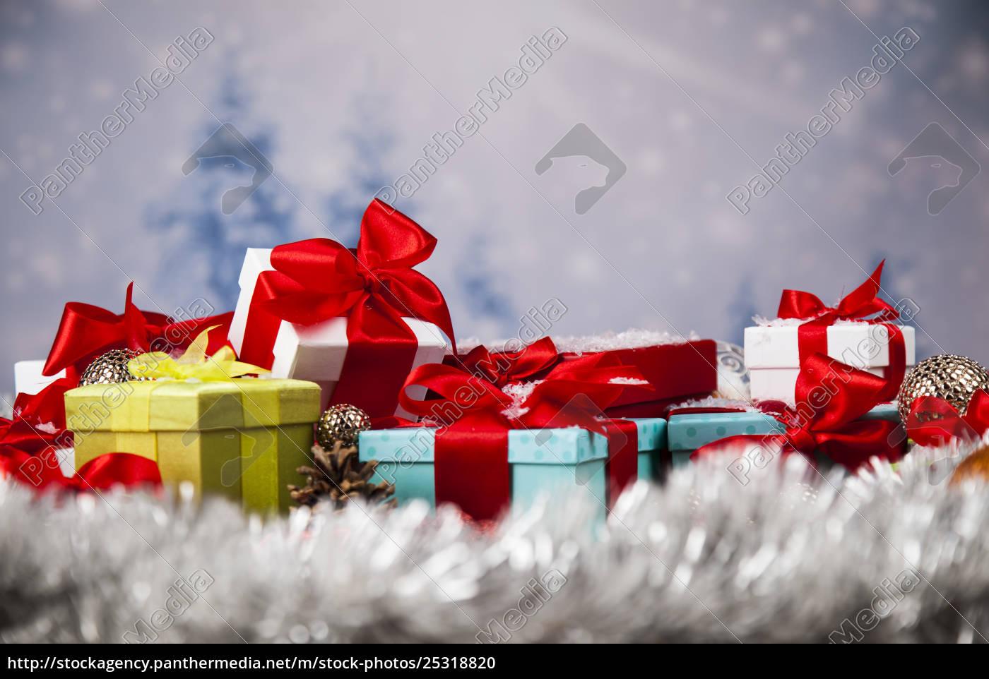 christmas, gift, box, and, balls, on - 25318820
