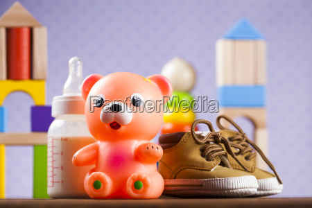stuffed, baby, toys, on, wooden, background - 25318818