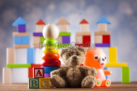 teddy, bear, on, on, wooden, background - 25318934