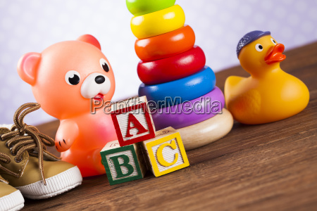 pile, of, toys, , collection, on, wooden - 25319086
