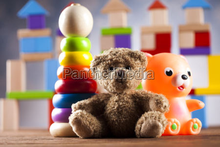 teddy, bear, on, on, wooden, background - 25319040