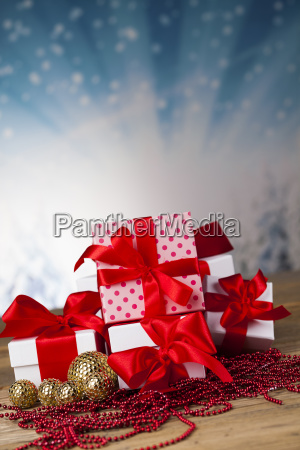 christmas, background, with, decorations, and, gift - 25327778