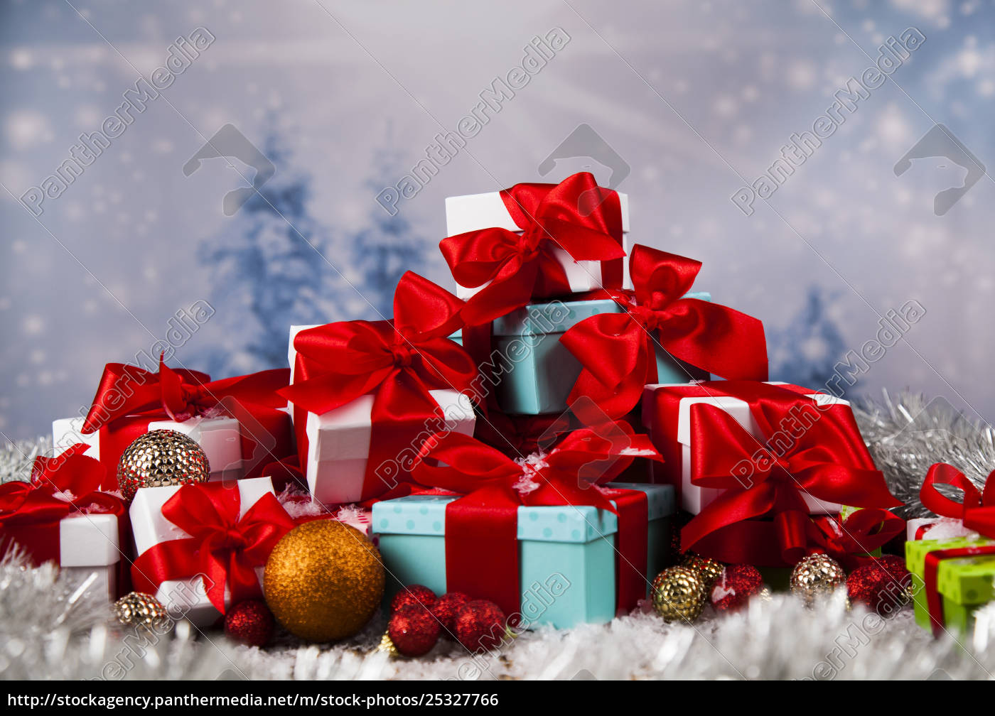 christmas, balls, , gift, box, with, red - 25327766
