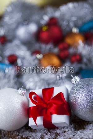 christmas, balls, , gift, box, with, red - 25327800