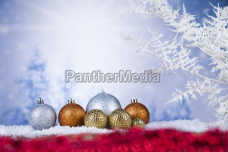 christmas, balls, on, shiny, background - 25327470