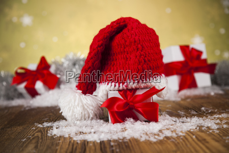 red, santa, hat, , holiday, christmas, background - 25327364