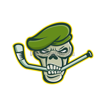 green beret skull ice hockey mascot