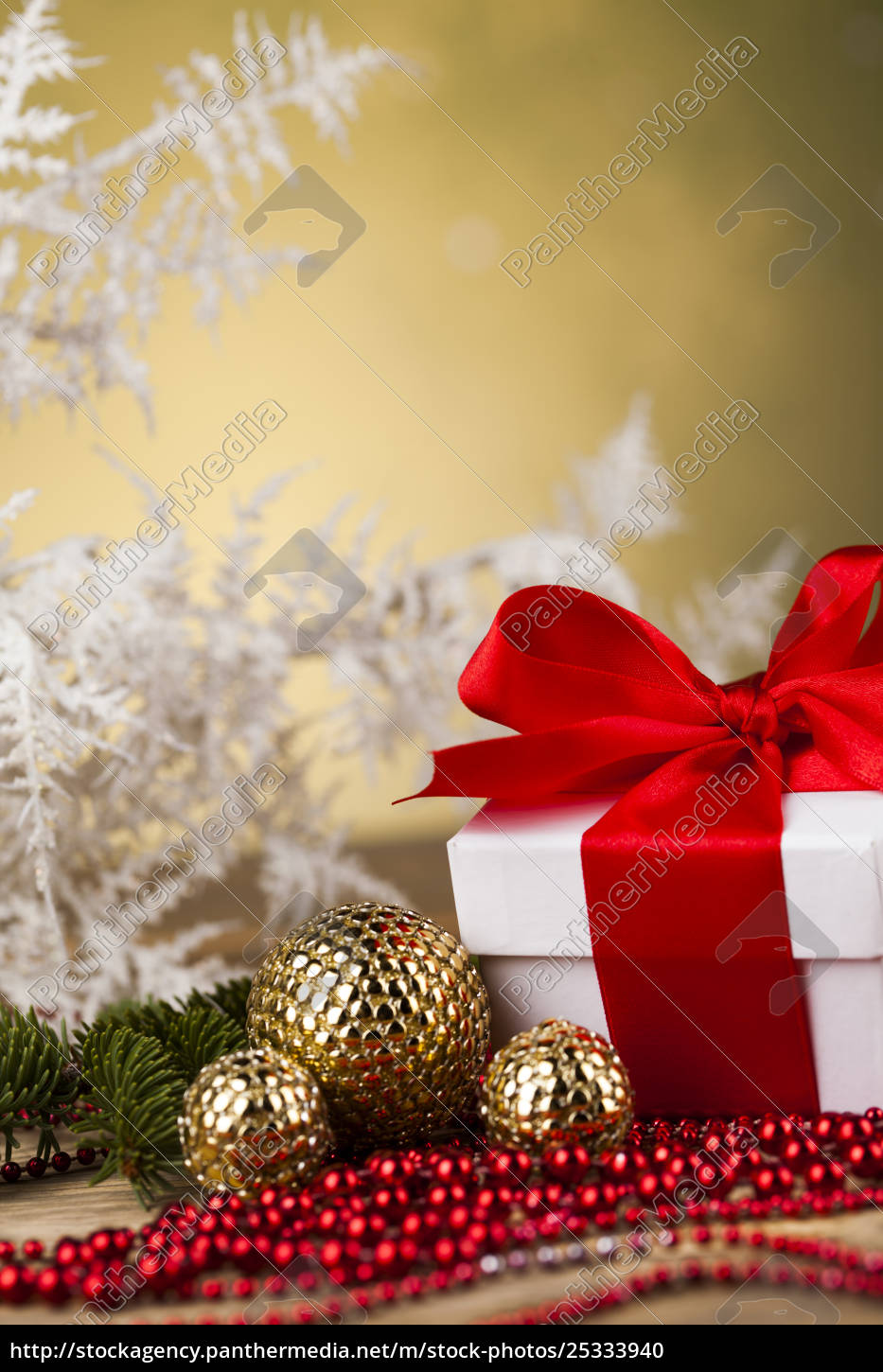beautiful, gift, box, with, red, ribbon - 25333940