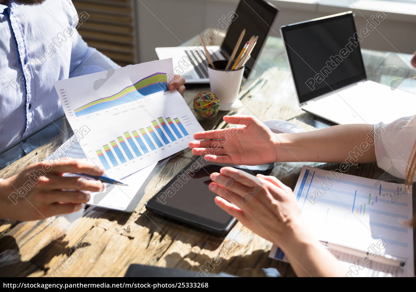 businessman, showing, graph, to, his, colleague - 25333268