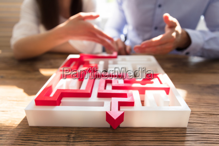 close-up, of, maze, puzzle, with, red - 25333526