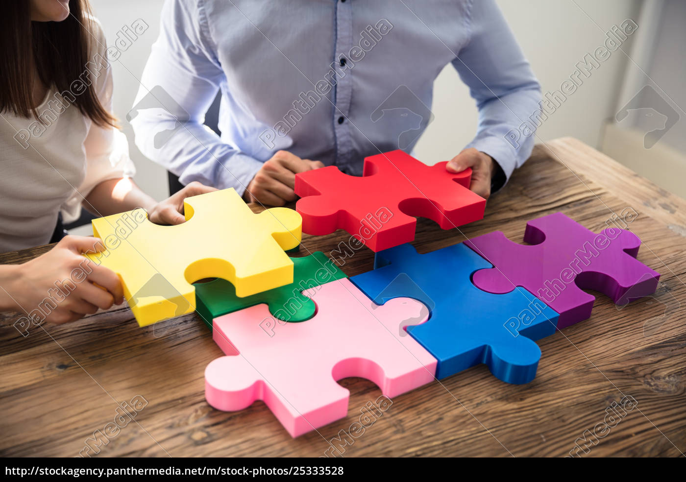 two, businesspeople, solving, jigsaw, puzzle - 25333528