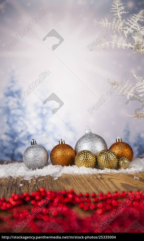 christmas, balls, on, shiny, background - 25335004