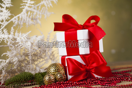 christmas, background, with, decorations, and, gift - 25336678