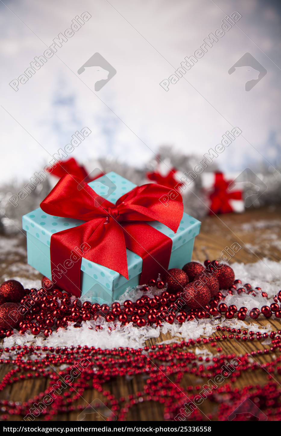 christmas, balls, , gift, box, with, red - 25336558