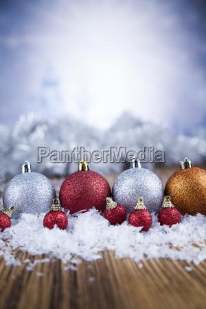 christmas, balls, on, shiny, background - 25336660