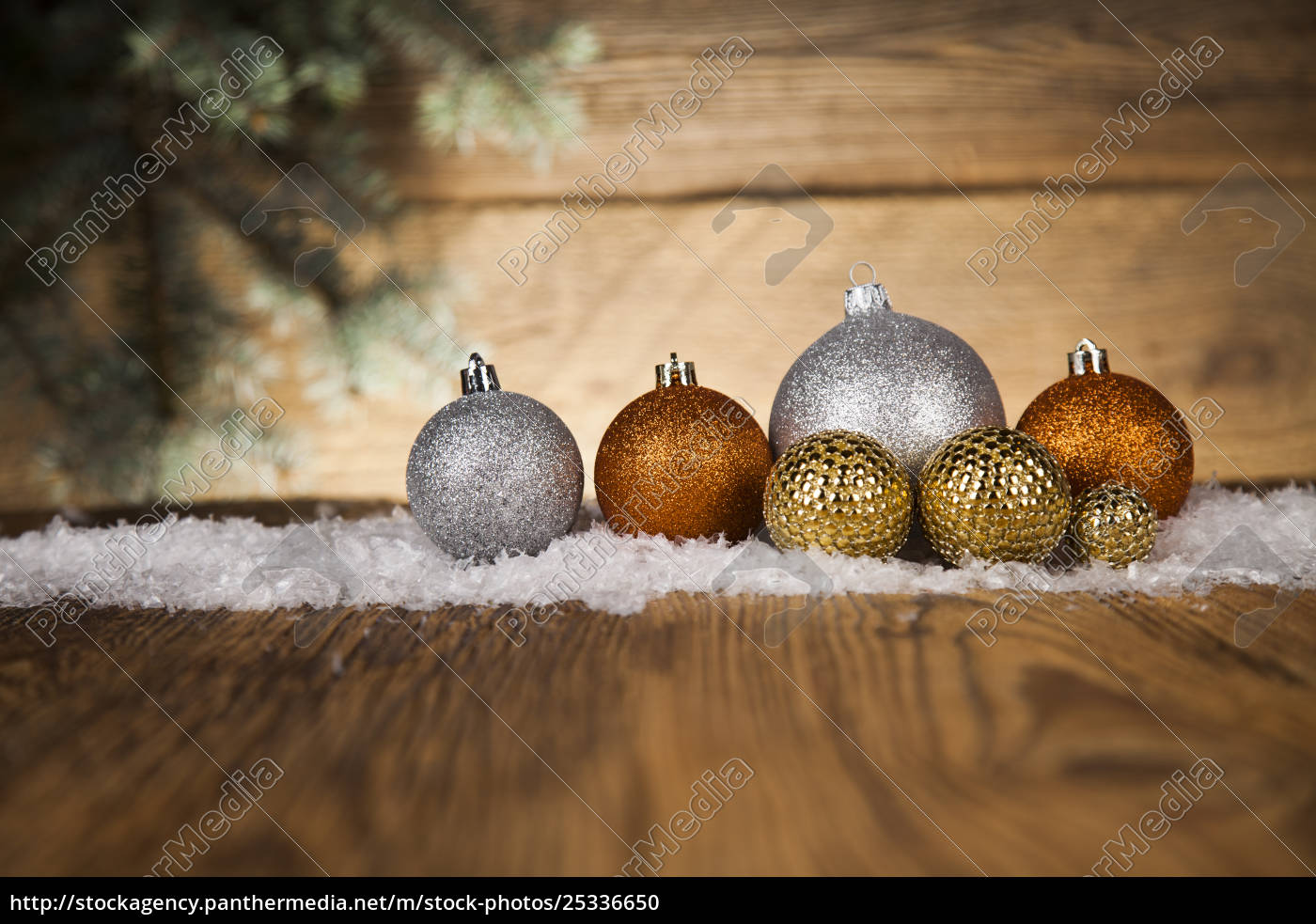 christmas, balls, on, wooden, background - 25336650