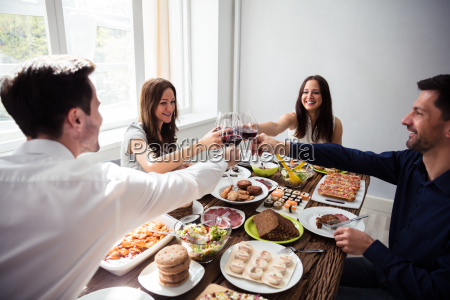 happy, young, friends, toasting, wineglasses - 25336338