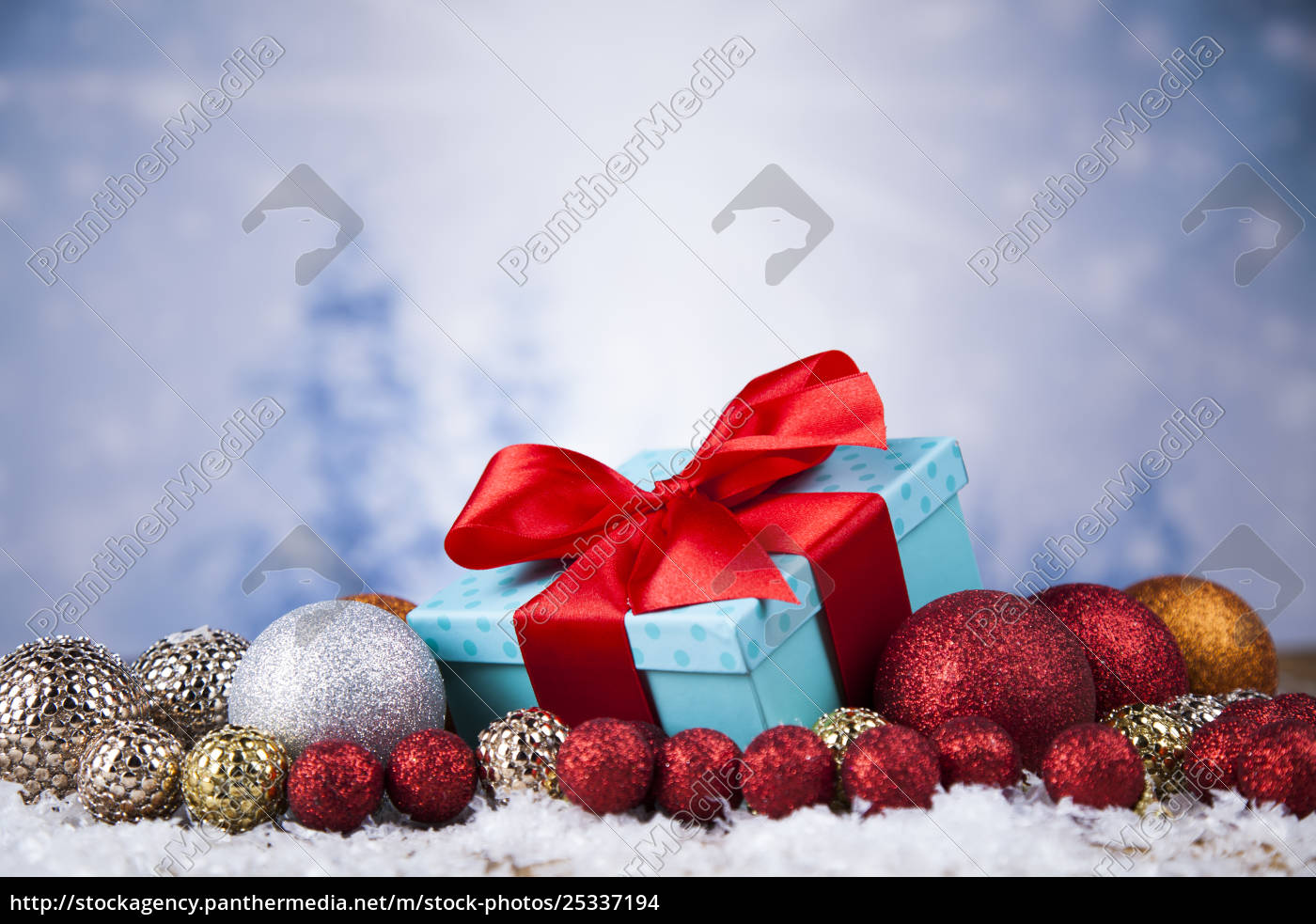 christmas, balls, , gift, box, with, red - 25337194