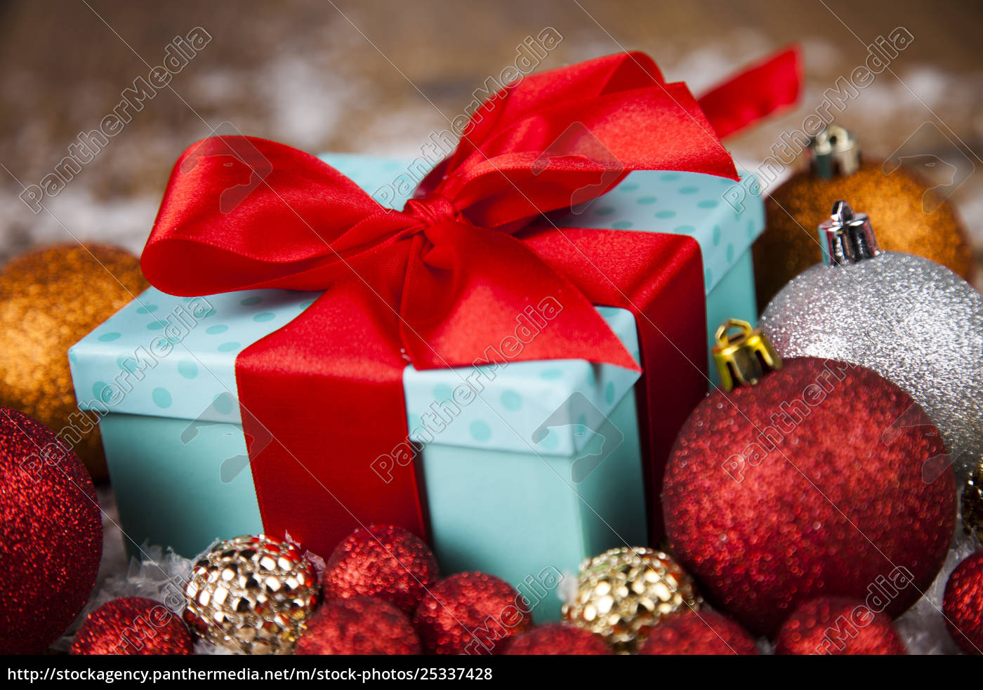 christmas, balls, , gift, box, with, red - 25337428