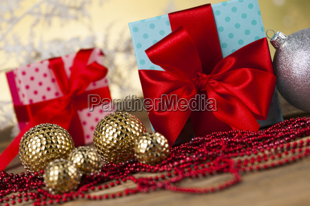 christmas, balls, , gift, box, with, red - 25337432