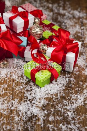 christmas, gift, box, and, balls, on - 25337490