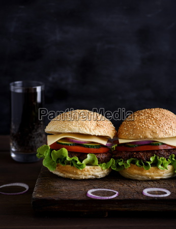 two, burger, with, meat, , vegetables, and - 25337062