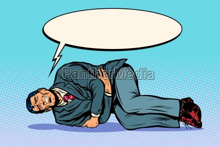 man lies hurts stomach the patient
