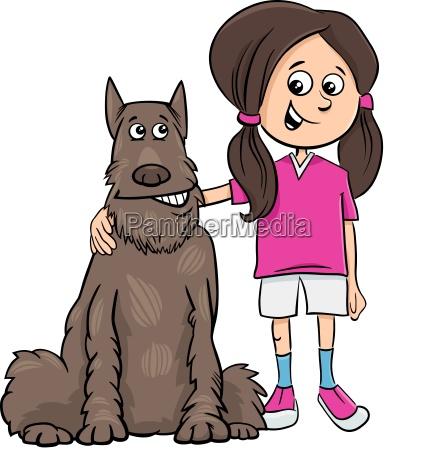 girl with dog cartoon illustration