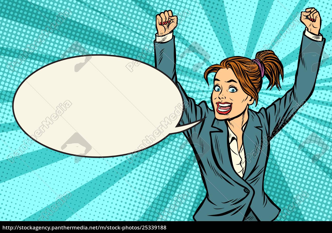 businesswoman, winner, hand, gesture, up - 25339188