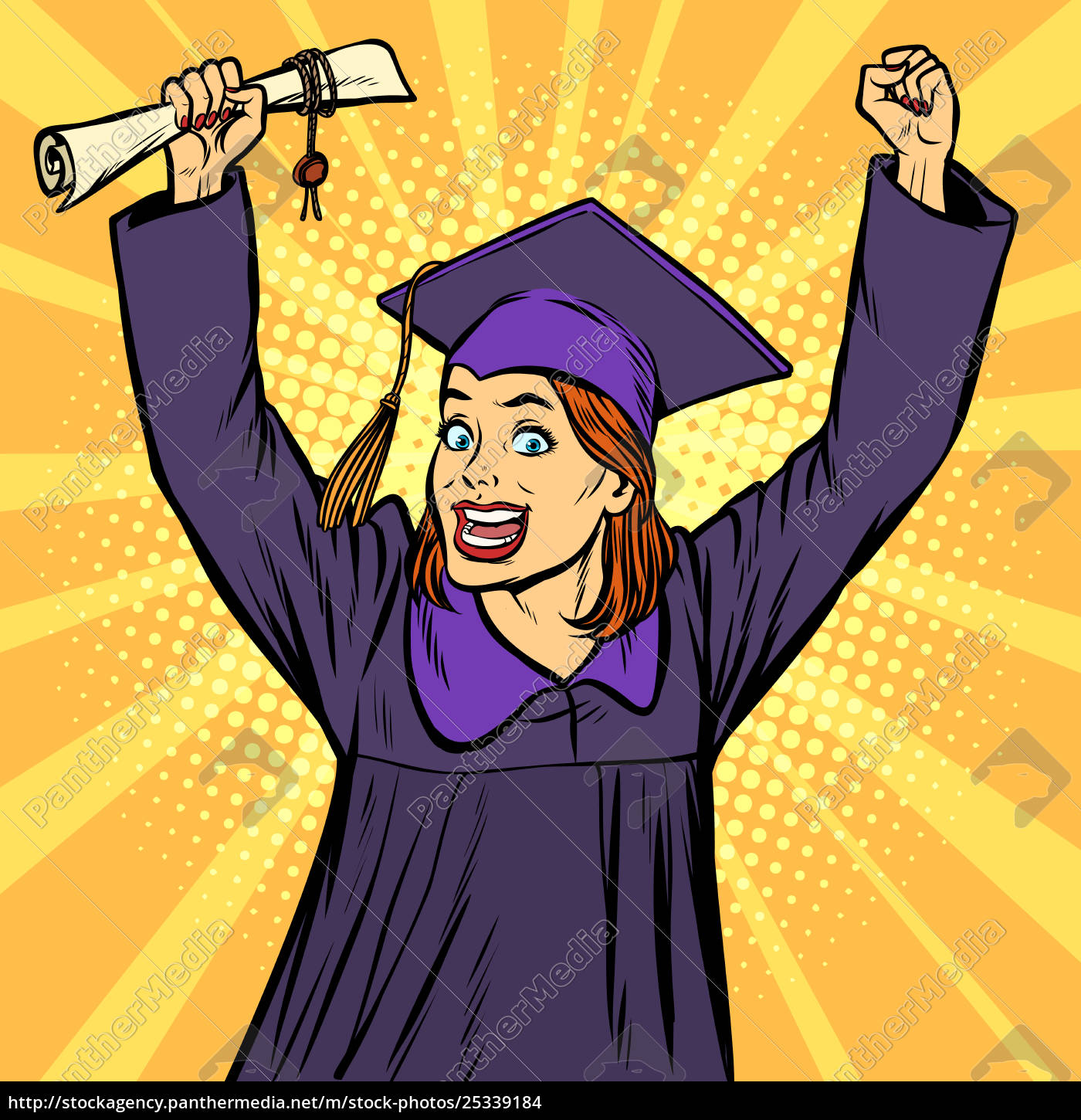 joyful, woman, graduate, victorious, gesture, hands - 25339184