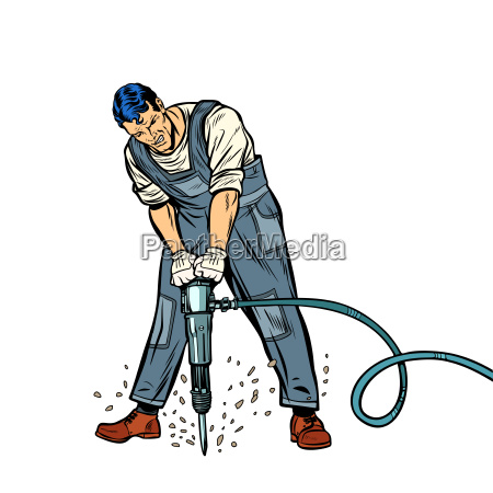 working, man, with, jackhammer - 25339276
