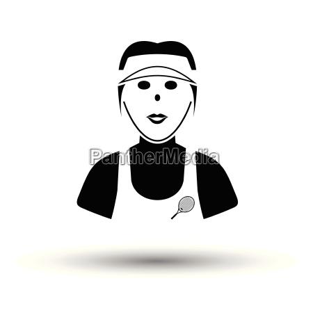 tennis woman athlete head icon