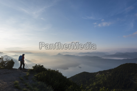 mountaineer in the early morning with
