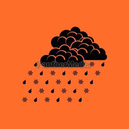 rain with snow icon
