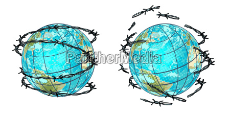 set planet earth in barbed wire