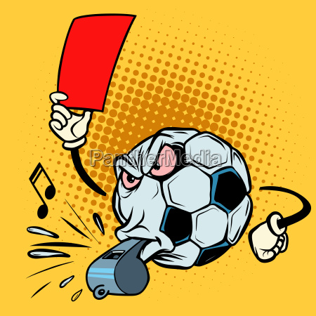 red card referee whistle football soccer