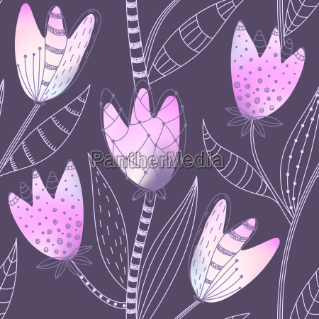 floral seamless pattern hand drawn abstract