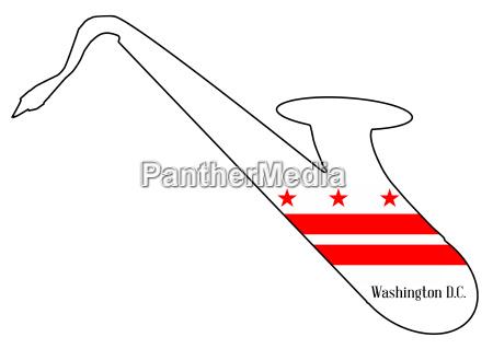 saxophone silhouette with washington dc flag