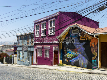 colourful buildings and a mural painted