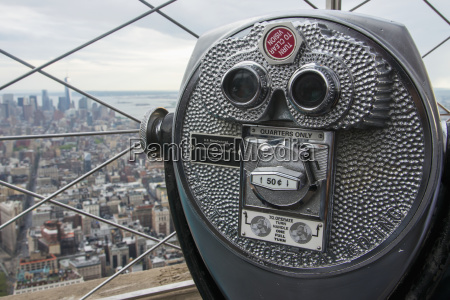 binocular tower viewer and view from